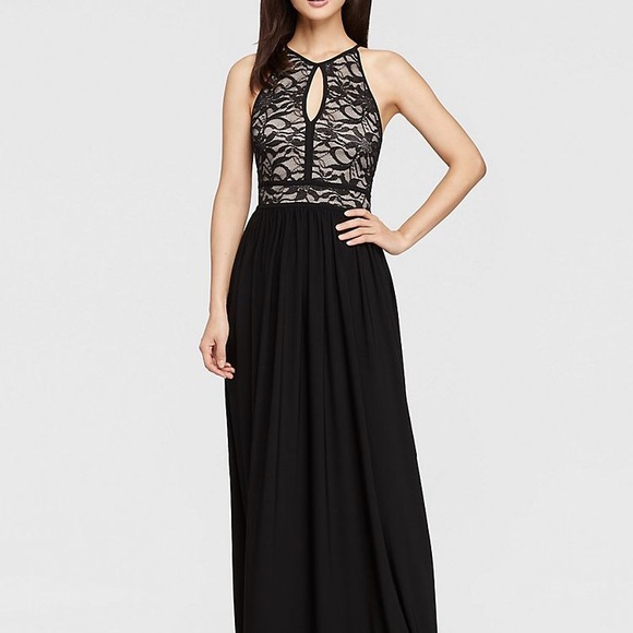 Night Way Collections Dresses | Nightway Lace Keyhole Halter Dress W ...